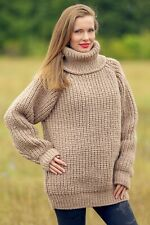 Beige wool sweater turtleneck warm jumper hand knitted thick pullover SuperTanya