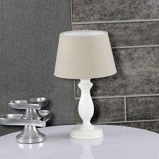 Tischleuchte Sabby Chic Natur weiß Gewischt 841745414 Lampenschirm leinen dunkel