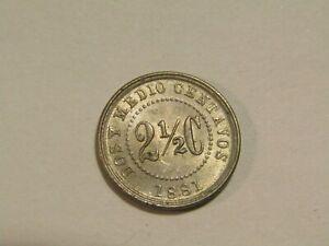 Colombia 1881 2 1/2 Centavos unc Coin