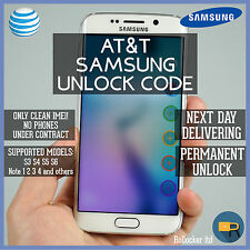 AT&T SAMSUNG FAST UNLOCK CODE SERVICE S2 S3 S4 S5 S6 Note 1-4 Galaxy Mini Rugby