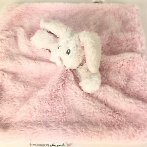 Blankets and & Beyond Pink White Bunny Rabbit Lovey Security Blanket Plush