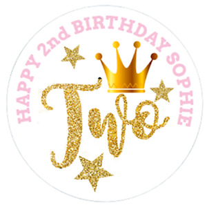 24 Large Personalised Party Bag Stickers 2nd Birthday Sweet Bag Cone Labels 60mm