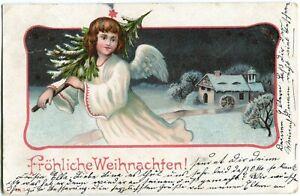 Fröhliche Weihnachten! Engel mit Tanne Winter-Landschaft 1904 Stempel Steglitz