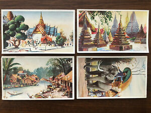 4 X THAILAND SIAM OLD CARD COLLECTION LOT TEMPLE ELEPHANT VILLAGE !!