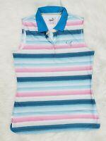 NWT PUMA DryCell Small Golf Polo Top Sleeveless Collar Shirt Blue Pink Stripes