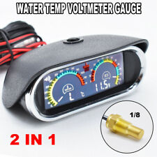 Car Digital Horizontal Gauge Water Temp Voltmeter Temperature 2 in 1 12V/24V LCD