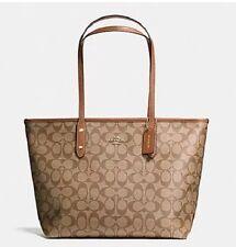 New Coach F36876 F58292 Signature City Zip Tote Handbag Purse Shoulder Bag Khaki