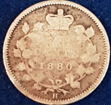 1880 H Silver Canadian 5 Cents  ID #A7-20