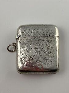 Hallmarked Silver Vesta Case 1890 Birmingham Victorian Heavily Engraved