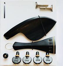MI&VI Ebony Violin Kit Parts-Tailpiece,Pegs,Endpin,Tailgut,Chinrest Hill Bracket