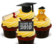 Class of 2019 Edible Cupcake Toppers, Standup Fairy Cake Decorations Graduation