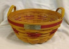 Longaberger Christmas Collection 1999 Edition Popcorn Basket &Protector Red Trim