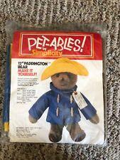 "5390 Paddington Bear Pet-Ables By Simplicity Craft Kit 13"" Eden Toys 1978 Nip"