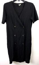 ASOS Black Button Front Dress Size 0 Short Sleeve