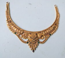 22K Yellow Gold Choker Necklace fully Handmade fine work free Ship Indian
