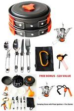17Pcs Camping Cookware Mess Kit Backpacking Gear & Hiking Outdoors Bug Out Bag C