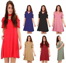 New Womens Short Frill Sleeve Choker V Neck Plain Ladies Swing Dress Plus Sizes