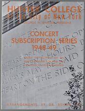 1948 Boston Symphony Orchestra Koussevitzky Program Hunter College New York City