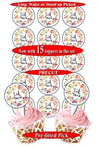 15 Eid Mubarak edible cupcake toppers, pre-cut, 3 sizes, 12 choices (1B)