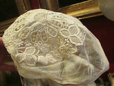 belle ancienne coiffe bonnet dentelle du puy broderie sur tulle 19 eme