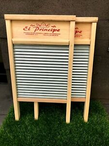 2 pack Hand wash wooden stainless steel corrugated vintage wash board - large