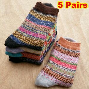 5 Pairs Women Winter Wool Socks Cashmere Thicken Warm Soft Casual Sports Sock UK