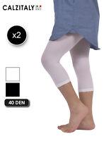 2 Pairs Girls Cropped Leggings, Capri Leggings for Children,40 DEN,Made in Italy