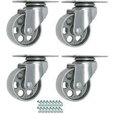 """4 Gray Metal Swivel Plate Caster Wheels Hd Steel w/ Screws (3.5"""" No Brake)"""