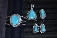 Handmade Sterling Silver and Turquoise 4 Piece Set
