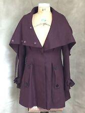 TWINKLE by wenlan WINE WOOL BLEND Swing COAT Jacket 10 ADJUSTABLE COLLAR NECK