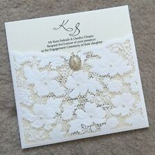 PERSONALISED LASER CUT WEDDING INVITATIONS LACE EFFECT WALLET INVITE WITH PEARL