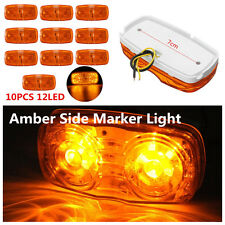 10x Super Bright Amber Lens 12 LED Truck Side Marker Clearance Light Waterproof