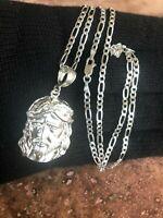 925 Sterling silver Jesus big Pendant  24;Long Necklace mens womens