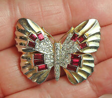 GORGEOUS TRIFARI JEWELED BUTTERFLY FUR CLIP