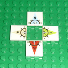 Lego White Tile 2x2 -north, south, east and west compass 4 pieces NEW!!!