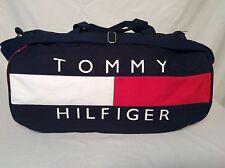 VTG 90S TOMMY HILFIGER DUFFLE TRAVEL GYM OVERNIGHT BAG BIG FLAG LOGO COTTON NEW