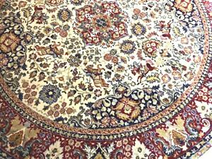 Wool Rug Hand Made Knotted Oriental Traditional Vintage Horses Round Diam. 200cm