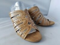 NEW Cloudwalkers Harla Women's Almond Cutout Perforated Slides Heels Sandals 12W