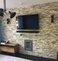 Split Face Natural Stone OYSTER SLATE Wall Cladding ✔️ 3D Stacked Stone
