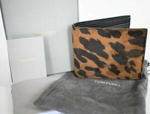🆕️ New TOM FORD ANIMAL LEOPARD Print Genuine Suede Leather BIFOLD Wallet