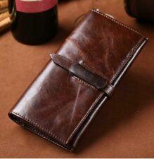 Real Genuine Leather Men Bifold Long Wallet RFID Cash Pocket Card Holder Purse