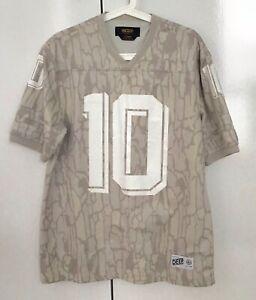 10 DEEP Beige White Numerical Graphic Print T- Shirt -size L.