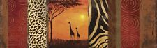Poster auf Holz Andres Tiere Wildtiere Giraffe Collage Orange
