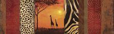 Wand Bild Andres Tiere Wildtiere Giraffe Collage Orange 39x129x1,2 cm A3FP