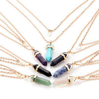 Fashion Lady Gemstone Natural Crystal Pendant Double Layer Alloy Chain Necklace