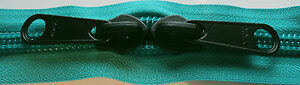 YKK Nylon Coil Zipper Tape # 10 Peacock 5 yards with 5 Black Zipper Sliders