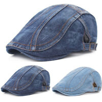 Men Quality Denim Pageboy Peaked Baseball Cap Driver Flat Casquette Beret Hat