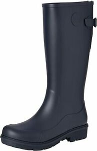 FitFlop WONDERWELLY Tall Ladies Rubber Wellington Boots NAVY UK Sizes 4 - 8
