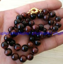 Natural 10mm Red Tiger's Eye Round Beads Gemstone Necklace18''Gold color clasps