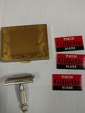 Vintage Gillette Razor  with Blades Compact Case with Mirror. Great condition.
